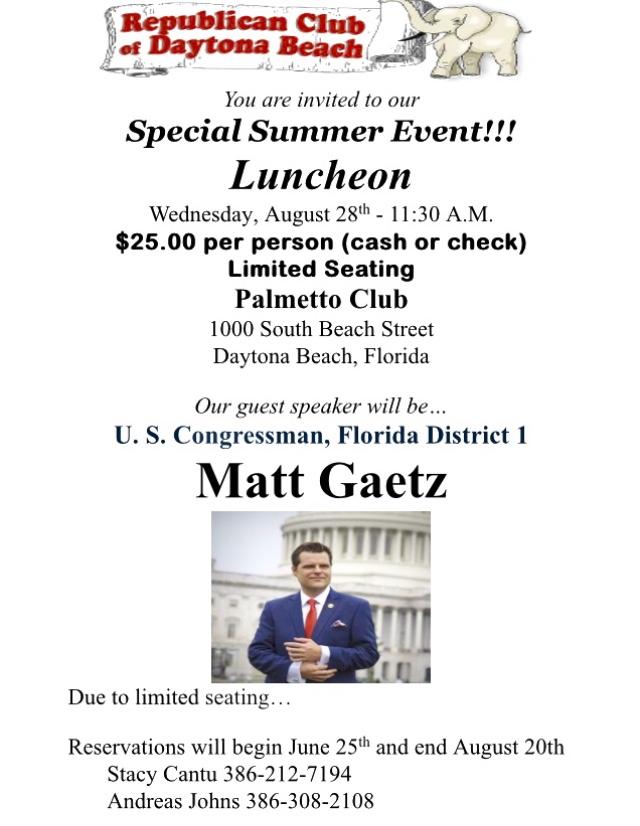 Congressman Matt Gaetz Flyer